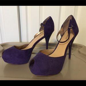 NWOT Shoedazzle Purple Peep-toe Pumps - Size 11